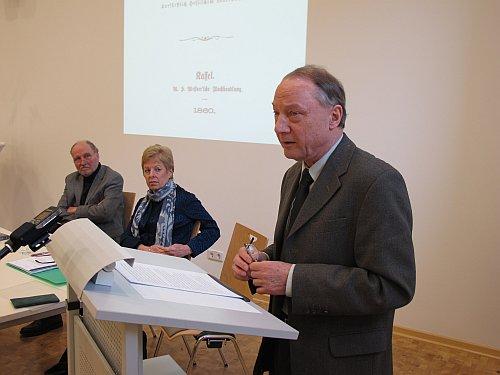 Foto: Symposium am 21.02.2011 - Dr. Jobst Paul, Dr. Angelica Schwall-Düren, Prof. Dr. Siegfried Jäger