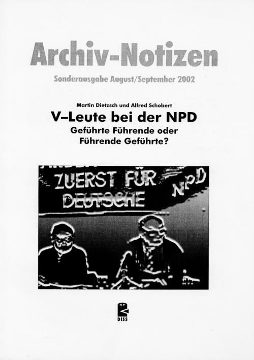 Titelseite der DISS Studie V-Leute bei der NPD