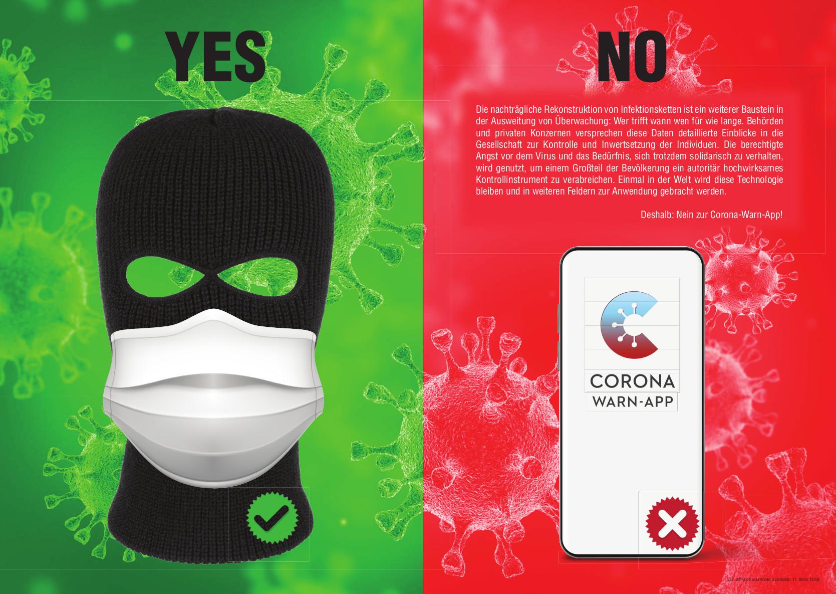 Illustration: Ja zum Schutz durch Masken, nein zur Corona Warn-App